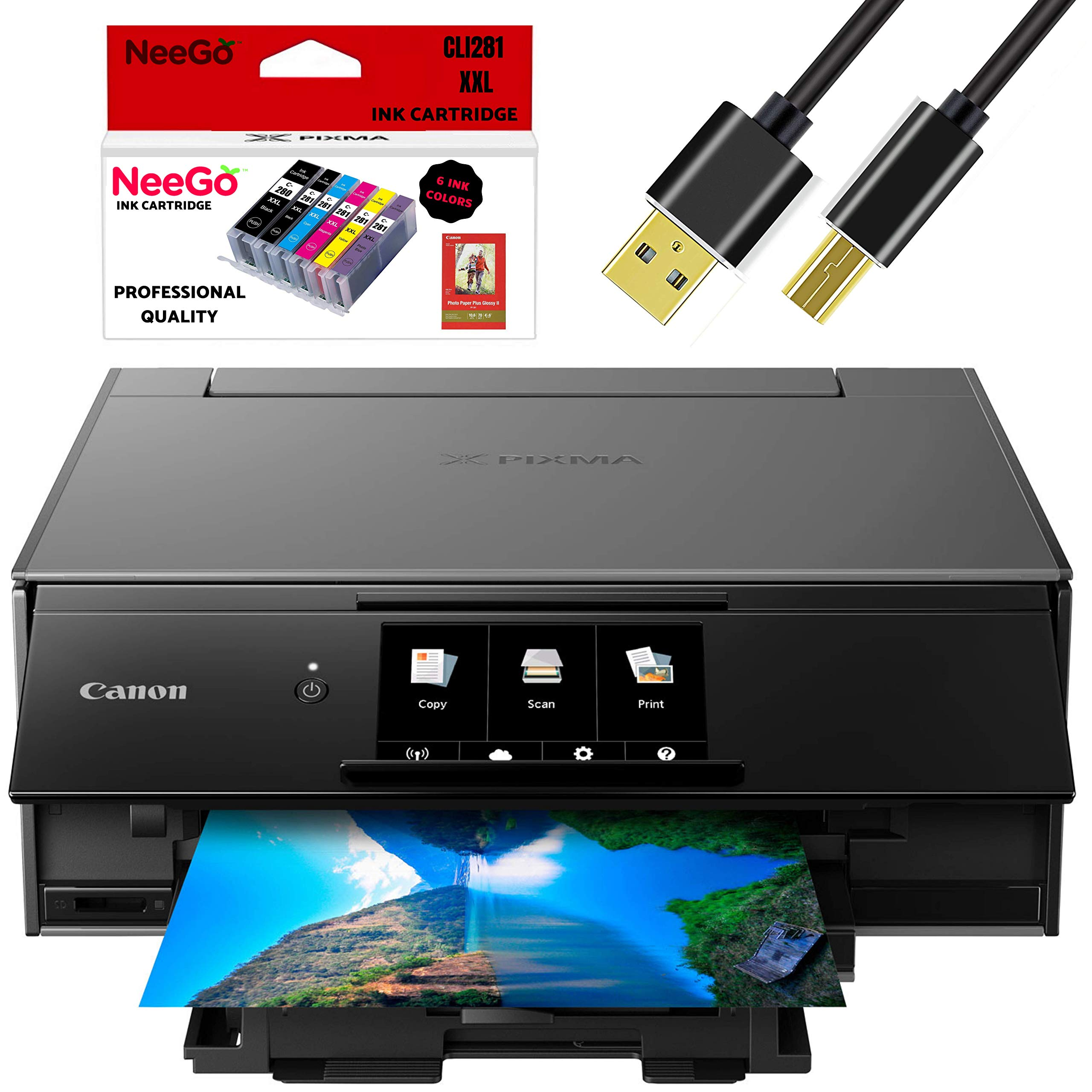 Canon Wireless Pixma TS9120 Inkjet All-in-one Printer with Scanner, Copier, Mobile Printing, Airprint and Google Cloud + Bonus Set of Ink and Printer Cable by Canon