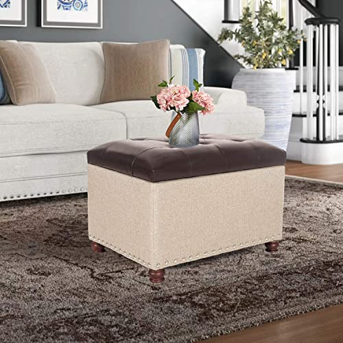Joveco 24″ Storage Bench Ottoman Footstool
