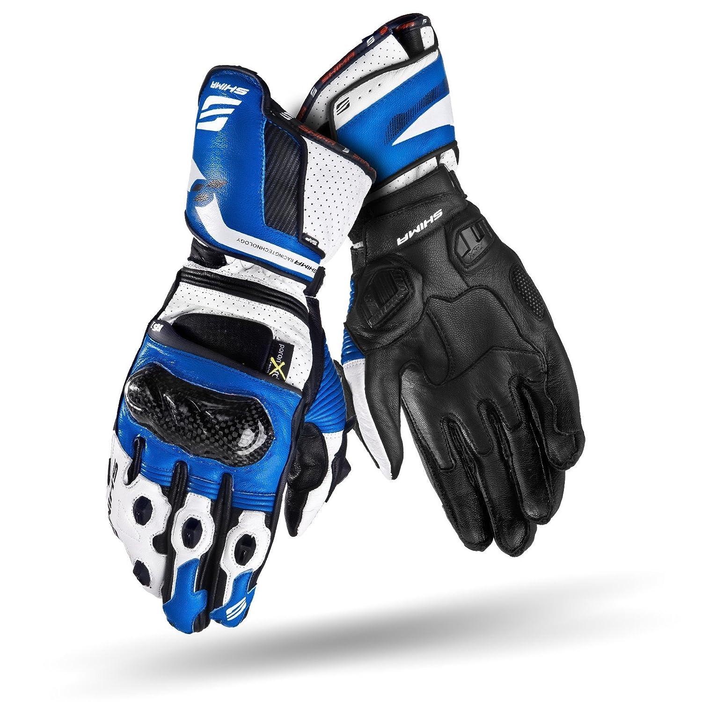 Sommer Leder Rennen Sport KNOX Super Fabric Herren Motorradhandschuhe mit CE Zeicheu mit Protektoren Motorrad L Shima RS-1 S-XXL, Blau