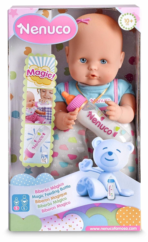 Nenuco - Muñeco bebé con biberón mágico de leche, Rosa (Famosa 700012691)