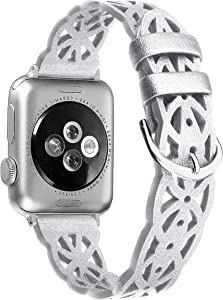Secbolt Hollowed-Out Leather Band Compatible with Apple Watch Bands 38mm 40mm iWatch Series 6/SE/5/4/3/2/1, Elegant Top-grain Leather Wristband Strap Accessories for Women, Silver