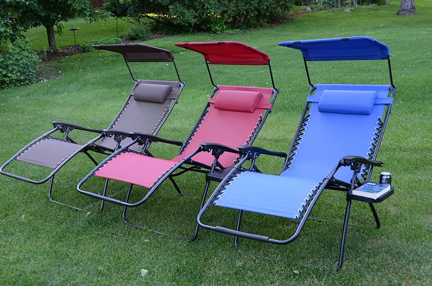 Amazon.com : Deluxe Oversized Extra Large Zero Gravity Chair With Canopy +  Tray   Brown : Zero Gravity Chair Wide : Garden U0026 Outdoor