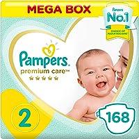 Pampers Premium Care Diapers, Size 2, Mini, 3-8 kg, Mega Box, 168 Count