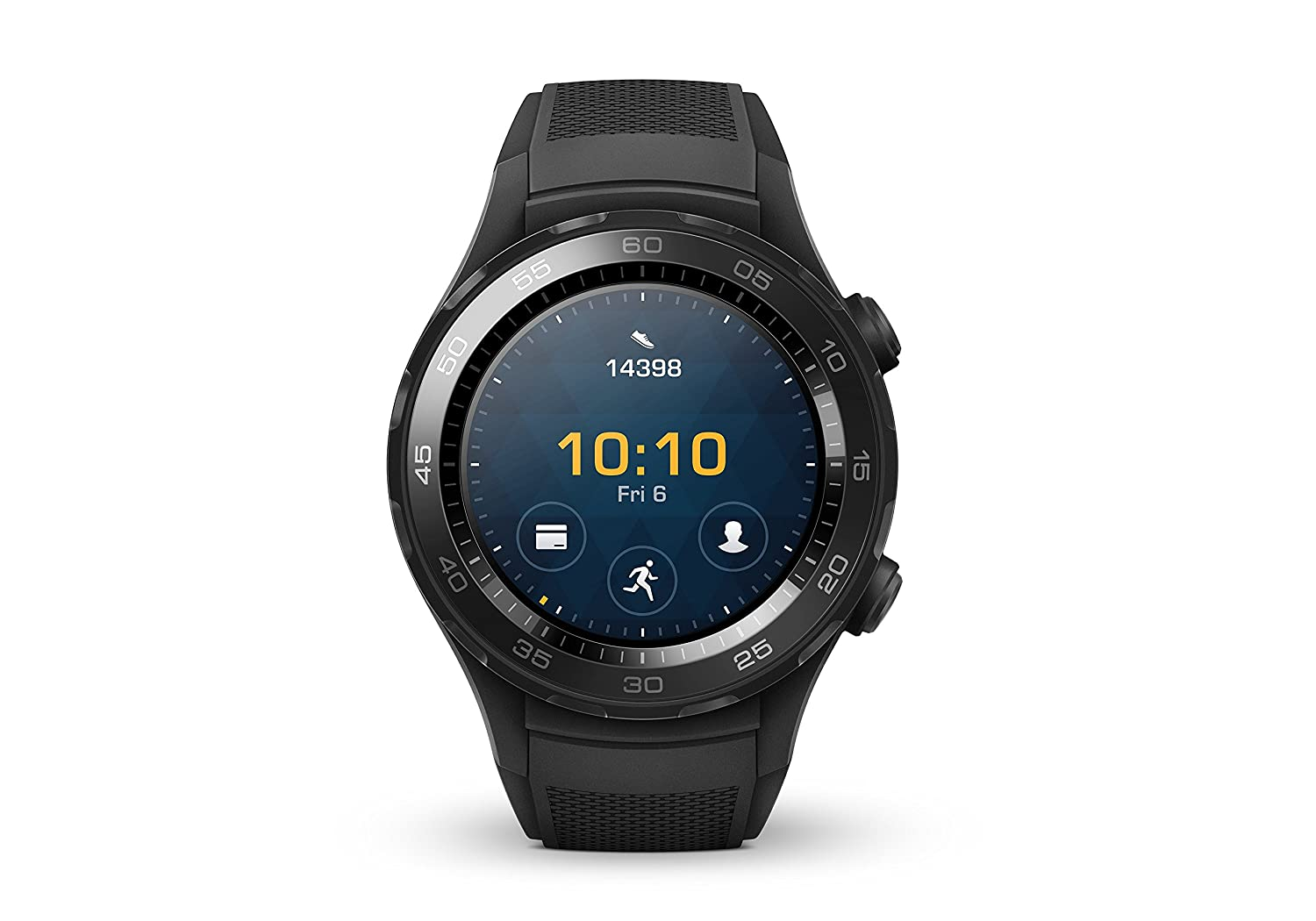 Huawei Watch 2 Smartwatch, 4 GB ROM, Android Wear, Bluetooth, Wifi, Monitoraggio della frequenza cardiaca, Nero (Carbon Black)