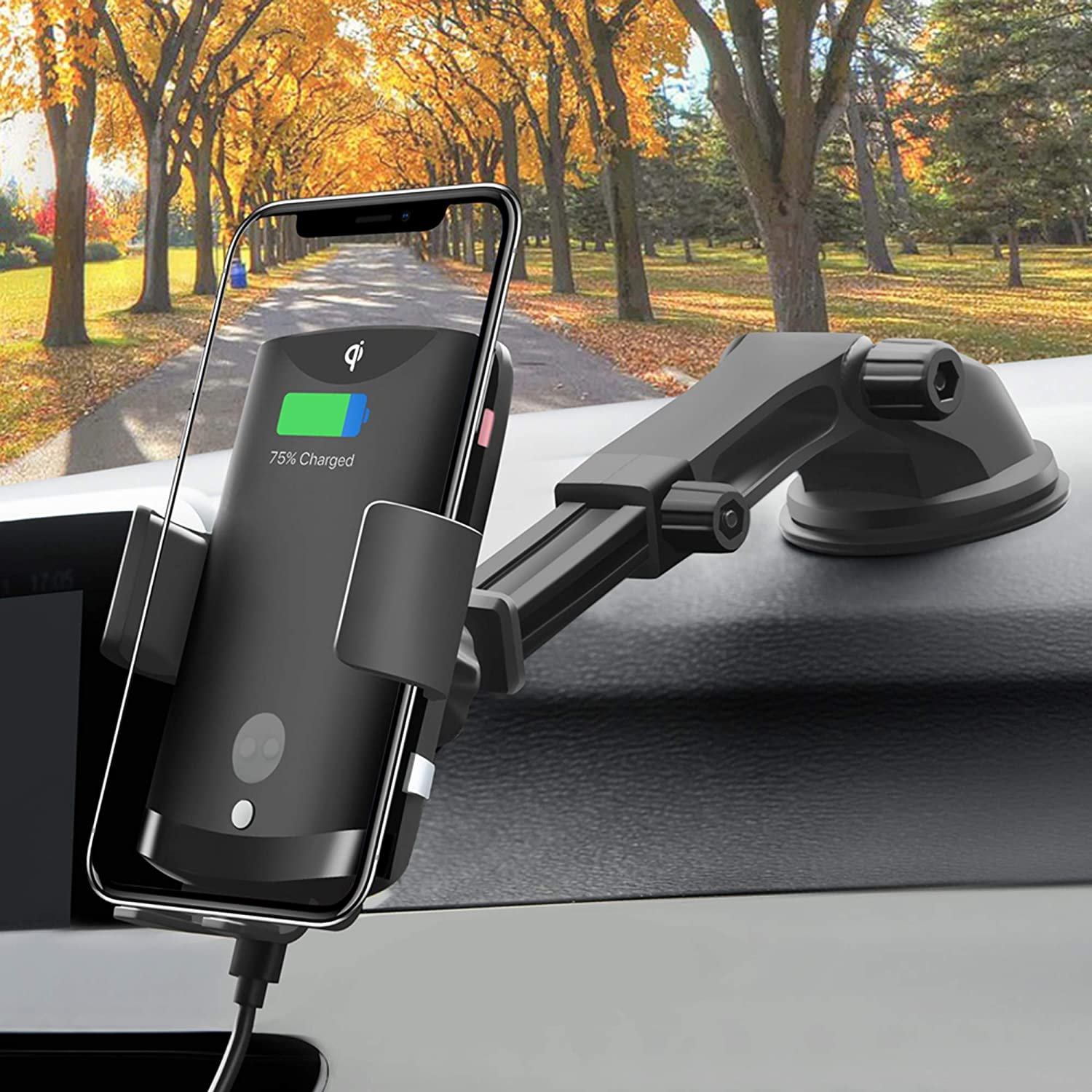Swgrdin Infrared Fast QC 3.0 10w//7.5w Qi Car Charger Mount Samsung S6//S7//S8//S9//S10//Note LG G6//G7//V30//V35//V50 Auto Clamping Wireless Charger Car Air Vent Phone Holder for iPhone 8//X//11 Pro Max
