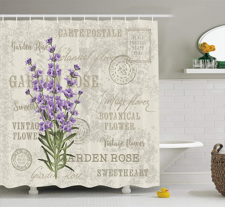 stile Vintage Shabby Chic Rosa Floreale A prova di muffa poliestere tessuto bagno tenda Tenda da doccia 152,4/x 182,9/cm