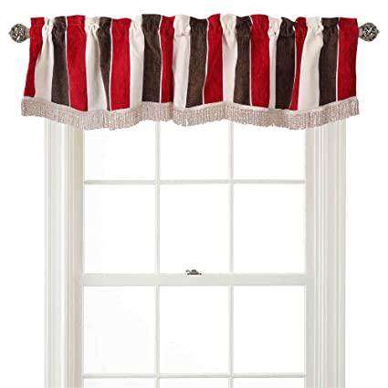 Violet Linen Decorative Deluxe Chenille, Striped Design, 60 x 15 Window Valance - Burgundy