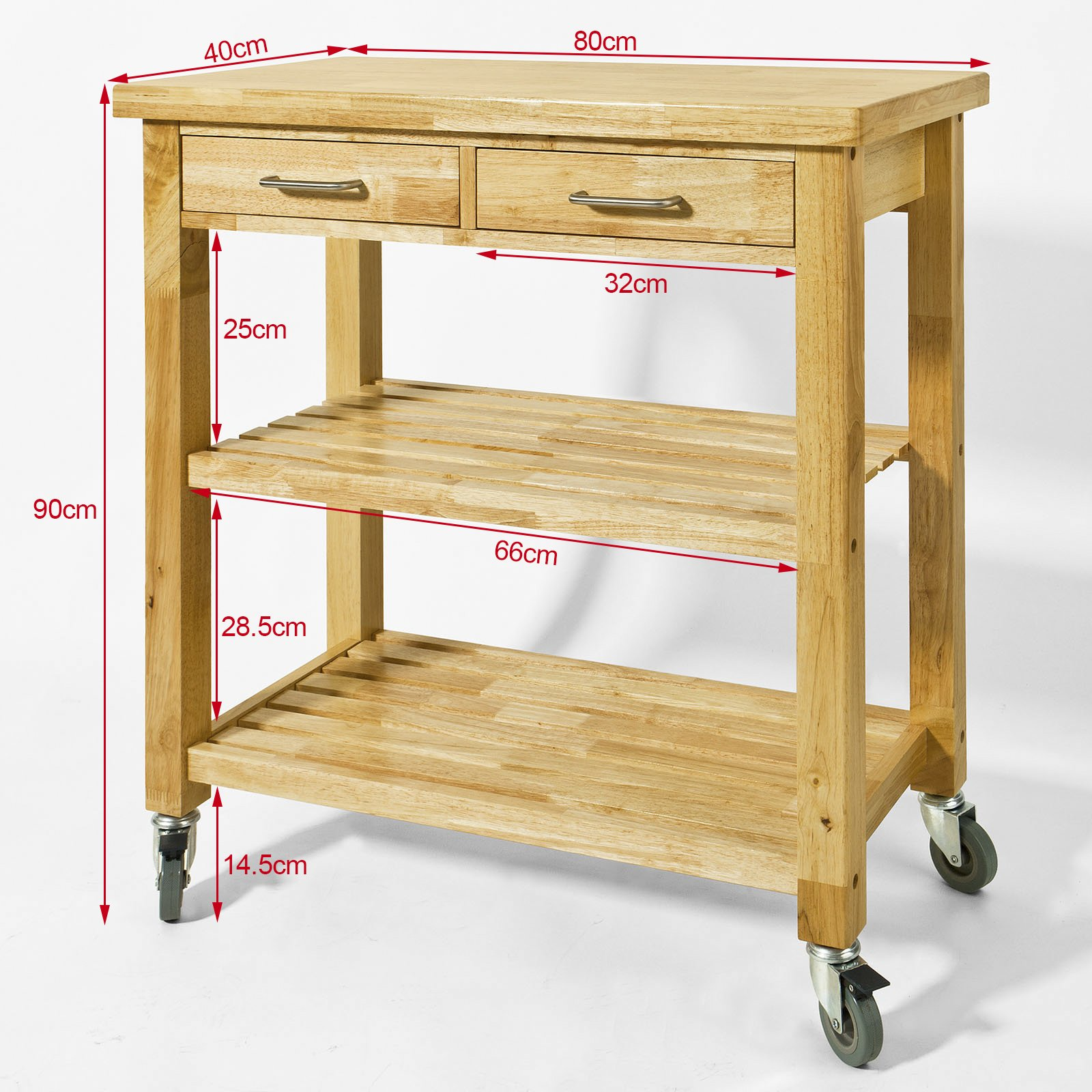 Haotian FKW24-N (natual), Rubber Wood Kitchen Trolley Cart with Two Drawers & Shelves, Kitchen Storage Trolley, L80cm(31.5in)xW40cm(15.7in)xH90cm(35.4in) by Haotian (Image #9)