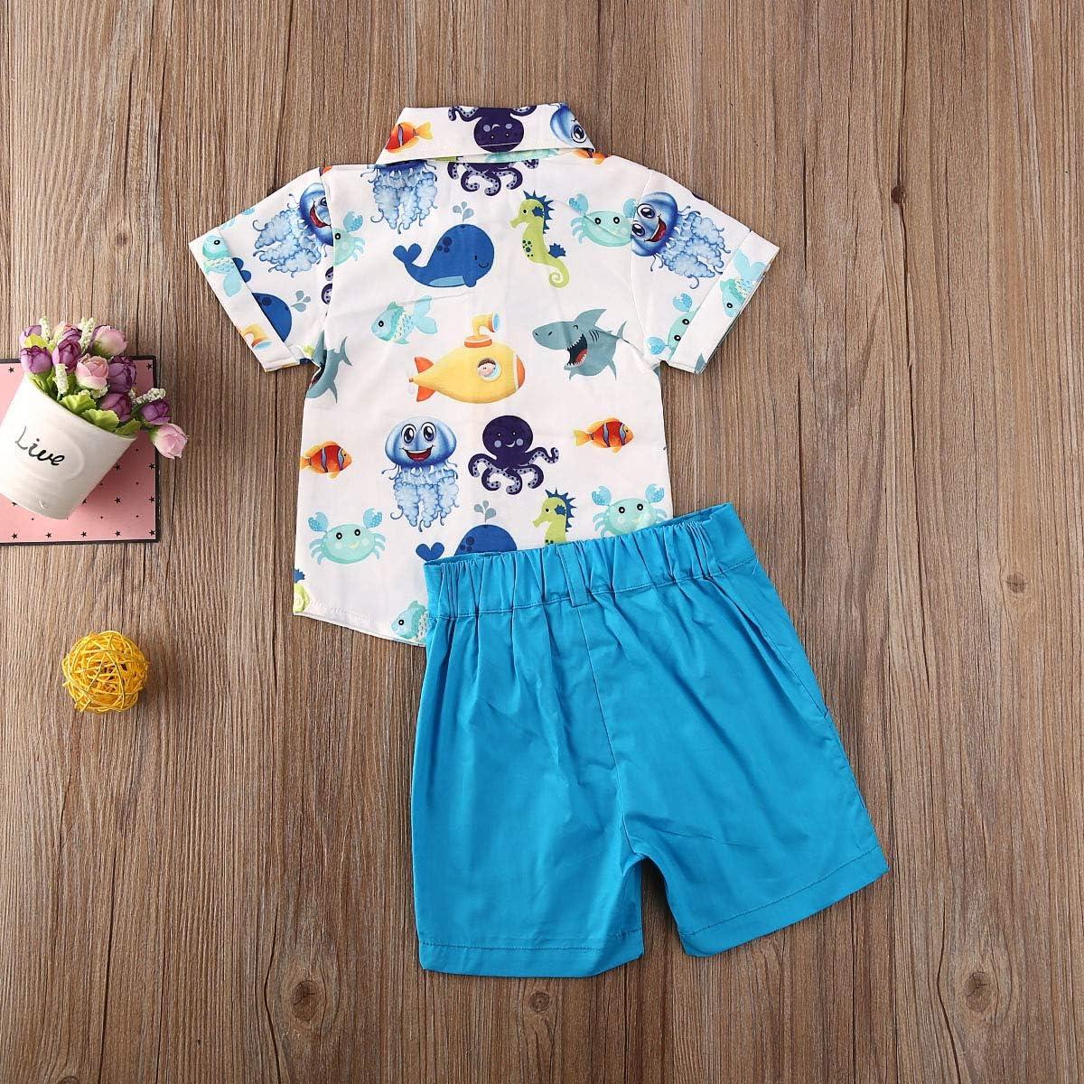 Baby Boys Button Down Shirt Solid Shorts Clothes Set 2Pcs Flamingo Dinosaur Tops and Shorts Kids Outfits