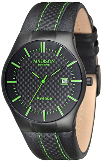 Madison New York Reloj analógico para Unisex de Cuarzo con Correa en Piel G4785E: Amazon.es: Relojes