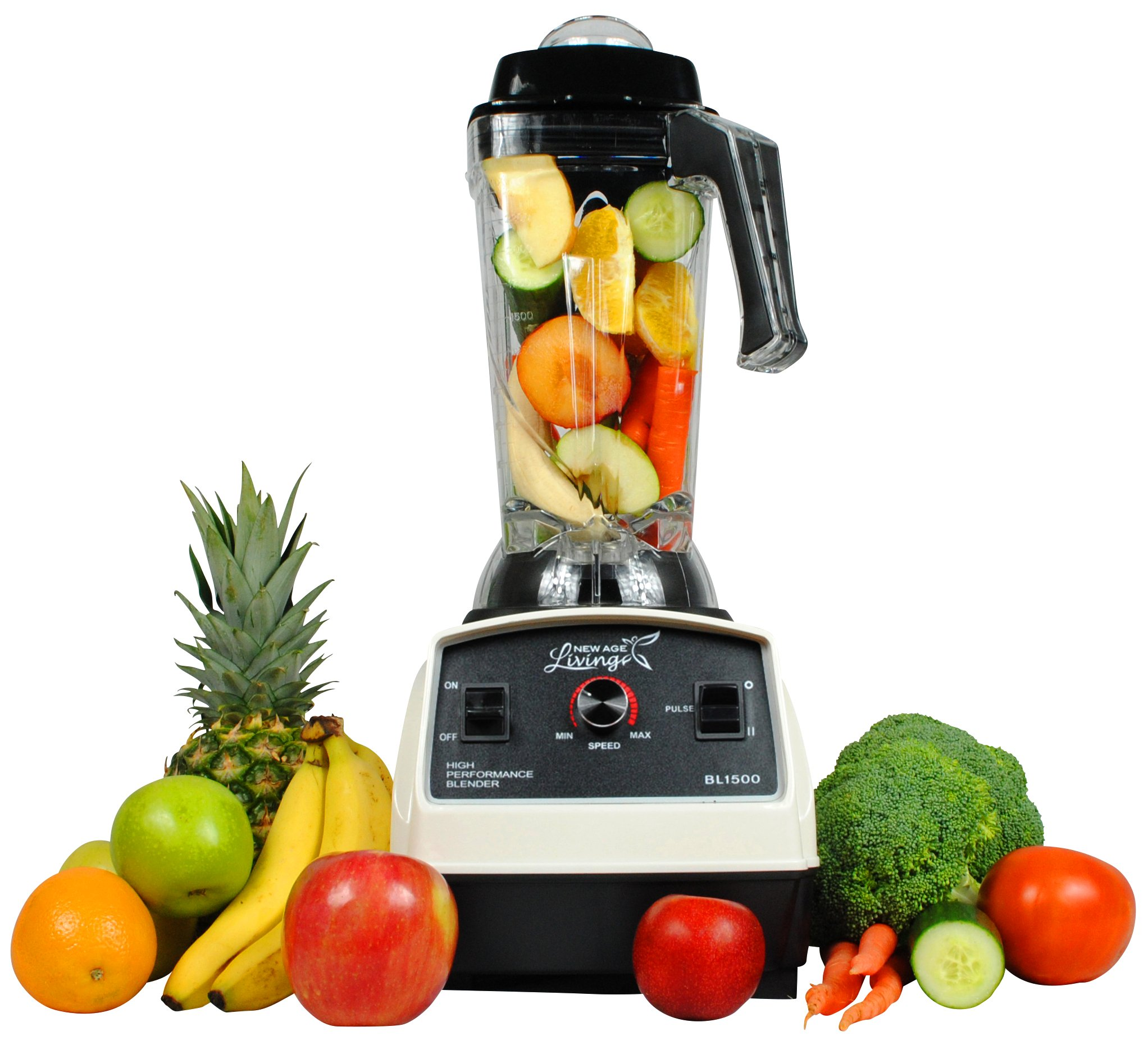 New Age Living BL1500 3HP Commercial Smoothie Blender - Blends Frozen Fruits, Vegetables, Greens, Seeds and even Ice - Make Pro Quality Shakes & Soups - BPA FREE - ETL Rated by New Age Living