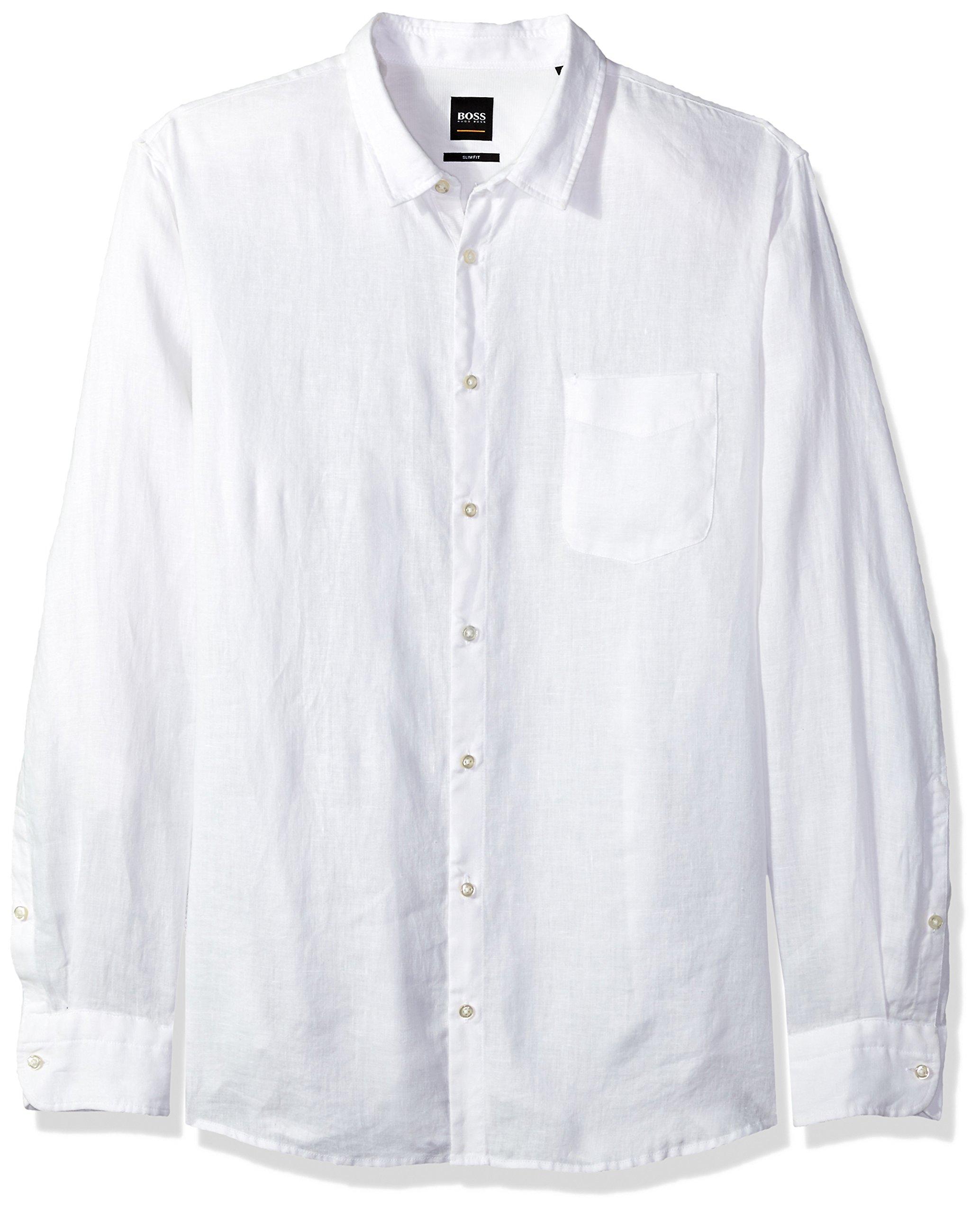 Hugo Boss Boss Orange Men's Long Sleeve Garment Dyed Linen Shirt, White, XXL