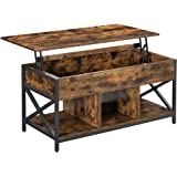 VASAGLE Lift Top Coffee Table, Living Room Table with Hidden and Open Storage Compartments, X-Shaped Steel Frame, for Living