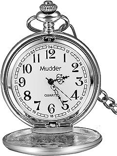 Classic Suave Vintage Acero Mens Reloj de Bolsillo