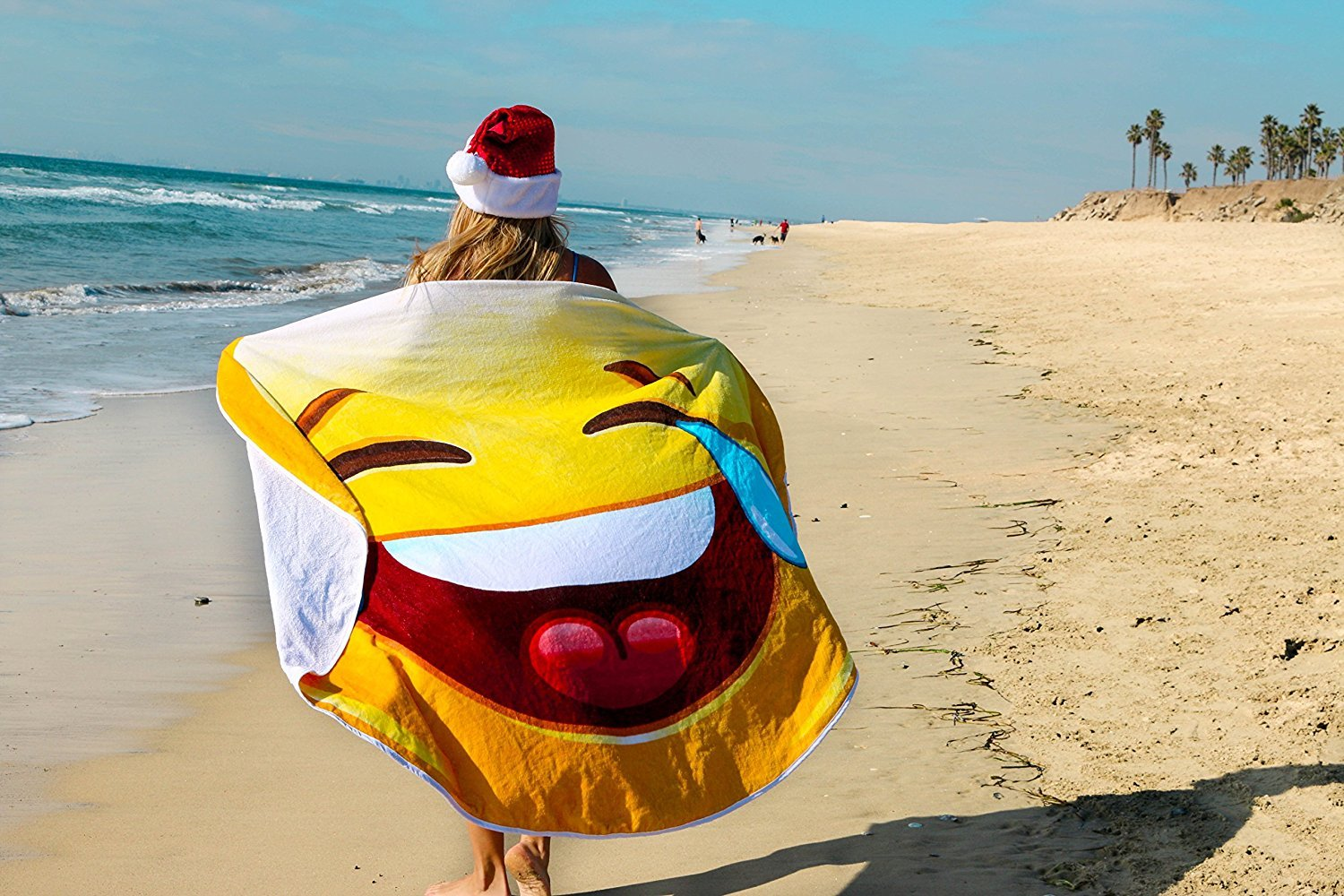 Crying Laughing Emoji Round Towel Chiffon Roundie Cry Laugh Face Circle Beach Blanket Gigantic Emoji Chiffon Towel by CHARM HOME (Image #1)