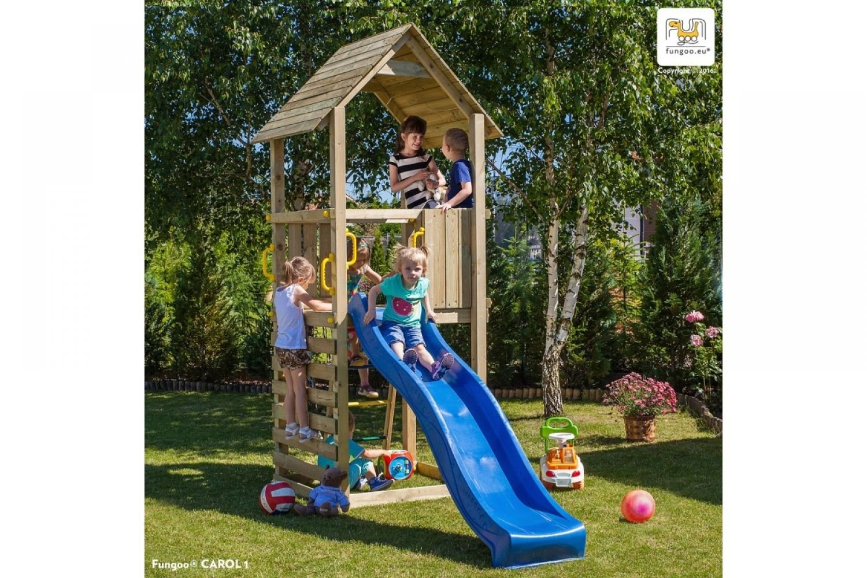 Fungoo ® Carol 1 Spielturm mit Rutsche Farbe blaue Rutsche
