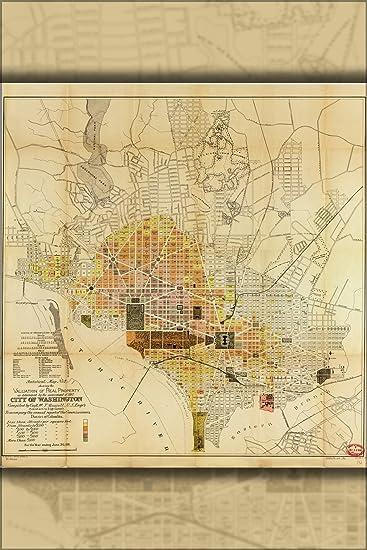 Amazoncom 16x24 Poster Map Of Washington DC Property Values