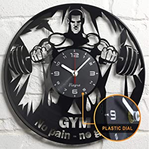 Gym Vinyl Clock - Gym Wall Decor - Gym Gift Idea - Gym Wall Clock - Powerlifter Crossfit Home Room Bodybuilder Gym Gifts For Men Gift Set Garage Gym Lover Theme Bodybuilding Wall Decor Art Clock Black