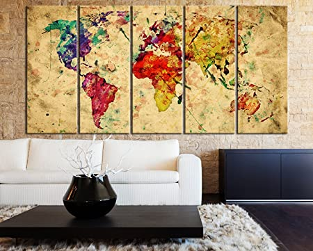 Multipanel retro world map canvas print vintage 5 piece 5 panel multipanel retro world map canvas print vintage 5 piece 5 panel watercolor world gumiabroncs Gallery