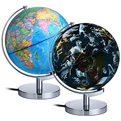 "AuAg Interactive World Globe for Kids 9"" LED Illuminated Constellations at Night, DIY Desktop Map Lamp Small Globes of The World with Stand, US Plug, Easy to Use: Office Products"