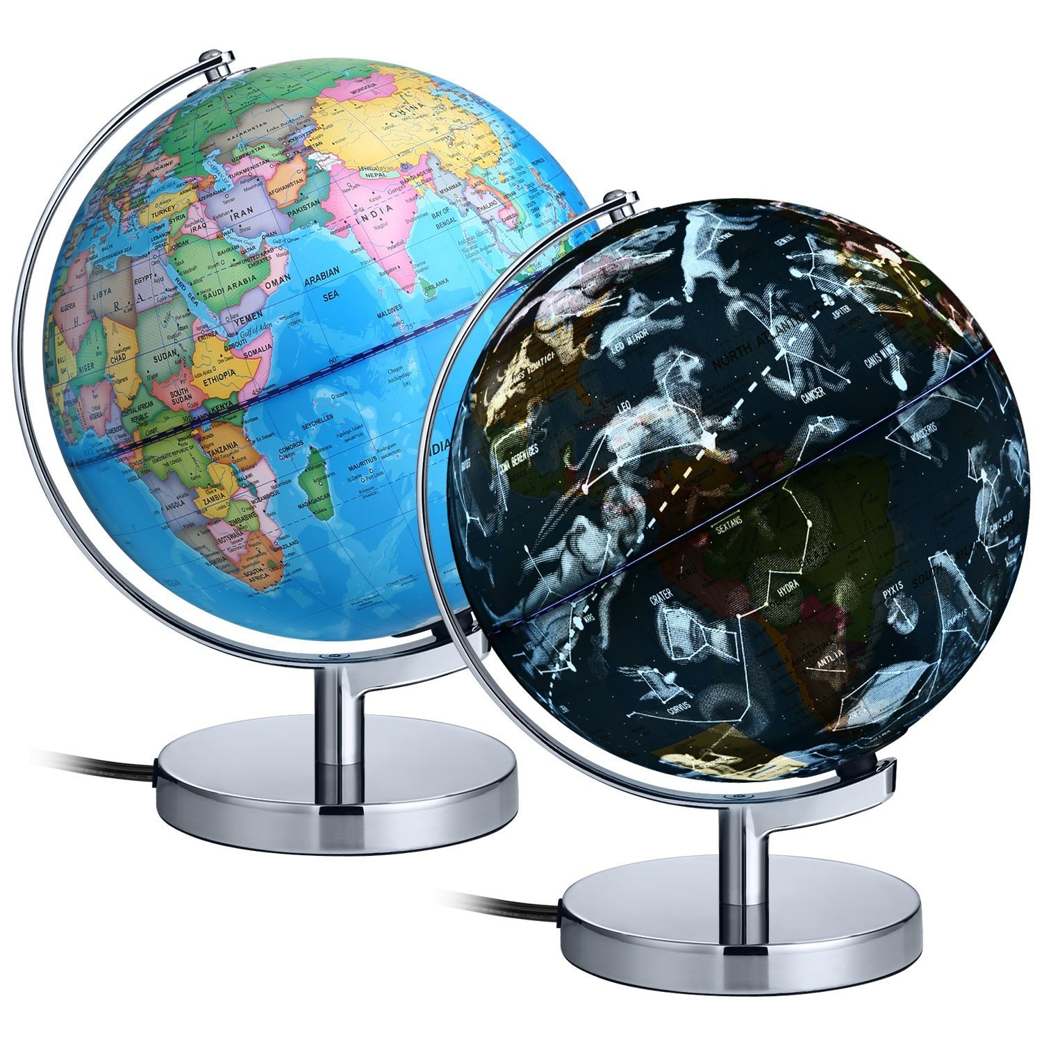 AuAg 9'' Illuminated World Globe for Kids, 88 Constellations & Animals Globe,Built in LED Lights for Night Views with Plug,Enviroment Friendly Marierials, 2-in-1 Educational Detailed World Globe Map