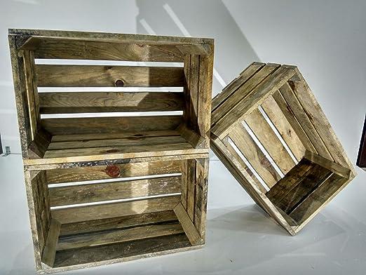 Lote DE 3 Cajas DE Madera Envejecida Tipo Fruta Vintage: Amazon.es ...