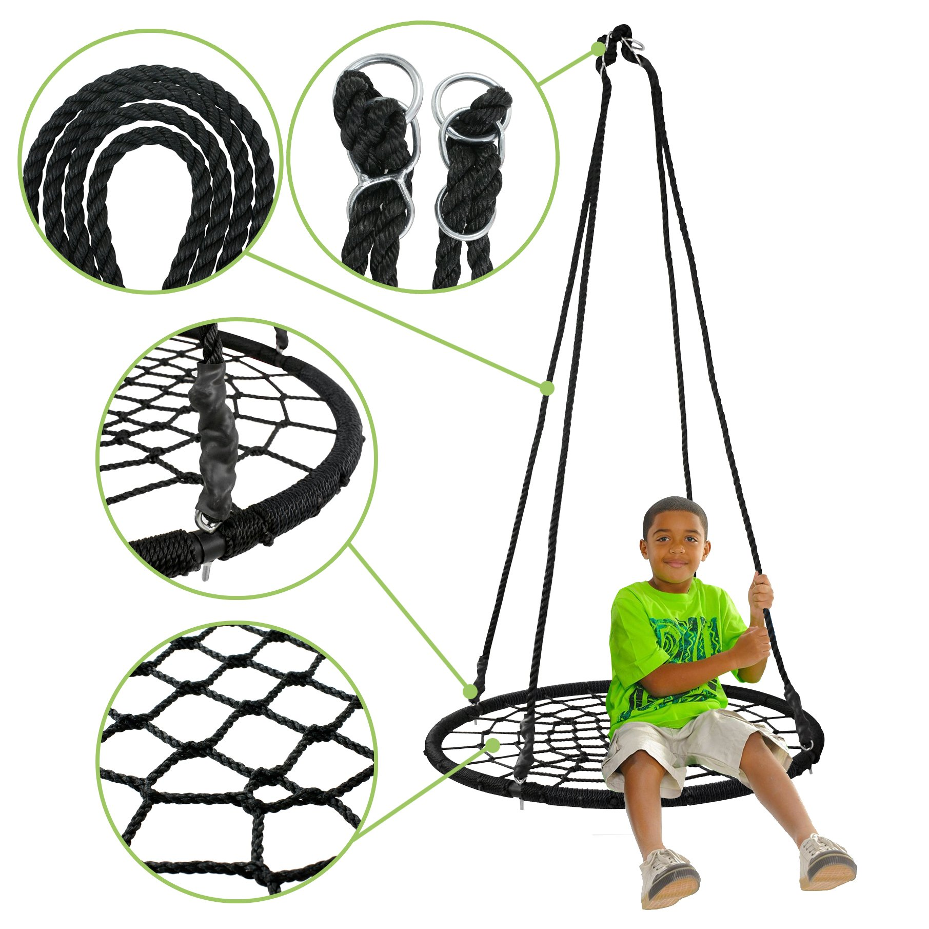 Super Deal XXL 48'' Web Tree Swing Set - Largest Platform - 360°Rotate° - 71'' Adjustable Detachable Nylon Rope - Attaches to Trees or Swing Sets - for Multiple Kids or Adult (48'') by SUPER DEA (Image #7)