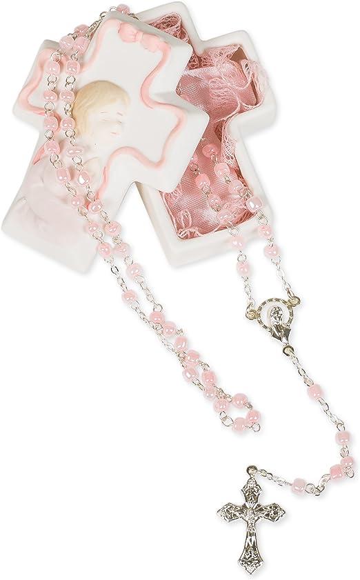Pink Rosary in a Porcelain Keepsake Box Christening Baptism Gift