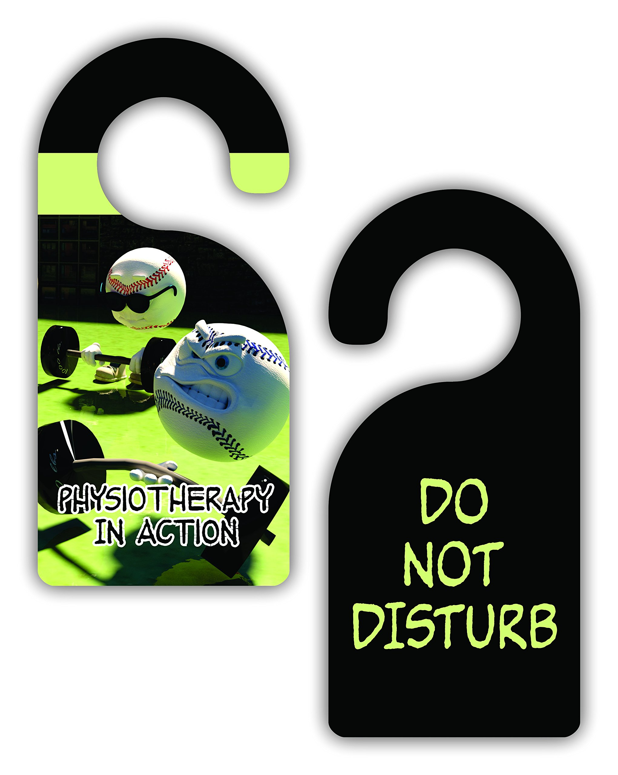 Physiotherapy in Action/Do Not Disturb - Therapist - Watercolor Print - Double-Sided Hard Plastic Glossy Door Hanger