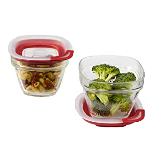 Rubbermaid Easy Find Lids Glass Food Storage Container, 1.5 Cup, Racer Red 1823641