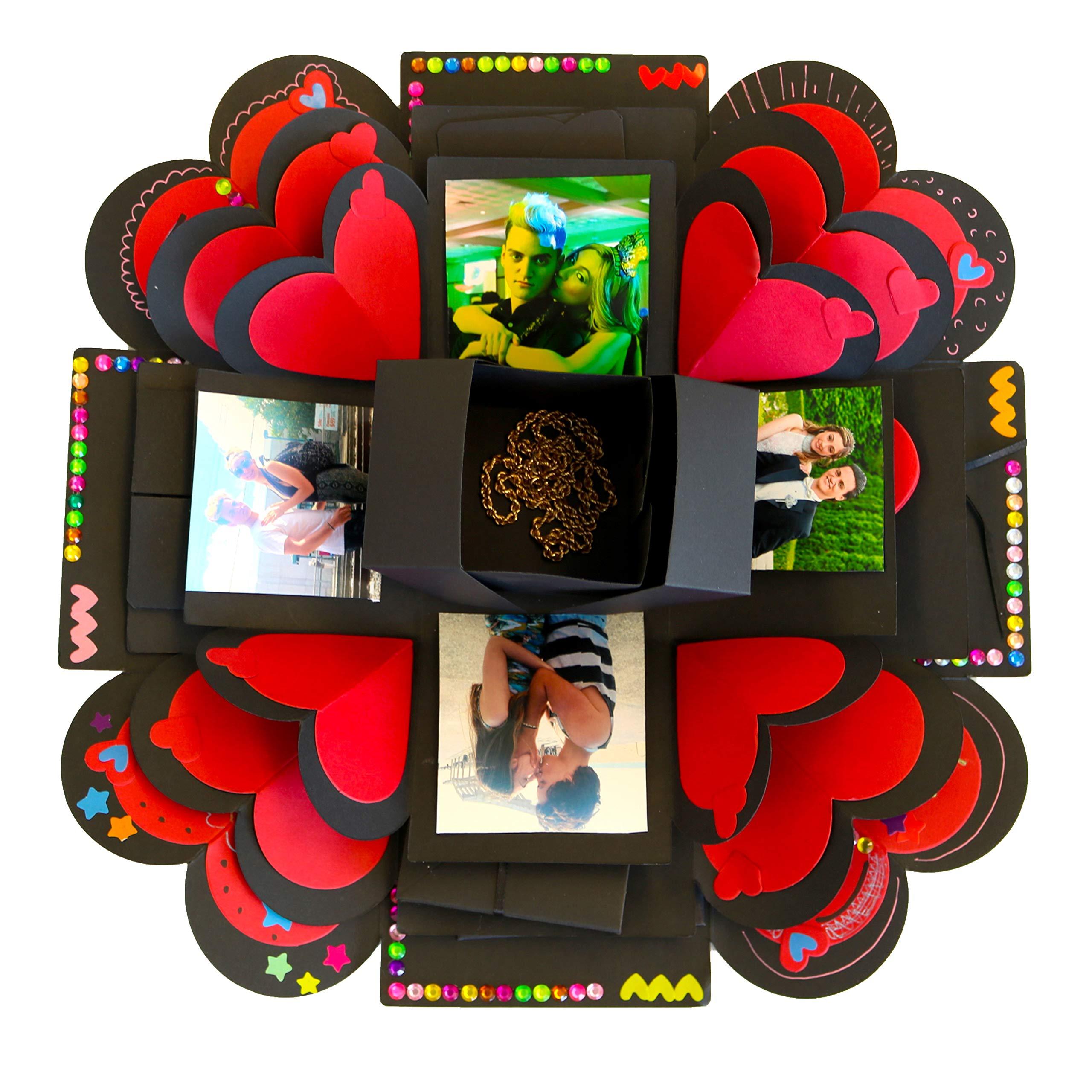3 Layer Explosion Gift Box Set|DIY Surprise Photo Album|Creative Scrapbook Kit with Accessories, Pens, Adhesive Tape|Gifts for Boyfriend, Girlfriend, Anniversary, Wedding, Valentines Day, Birthdays