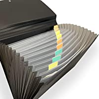 Expanding File Folder with 13 Pockets Accordion Document File Organizer A4 Letter Size File Jackets (Black)