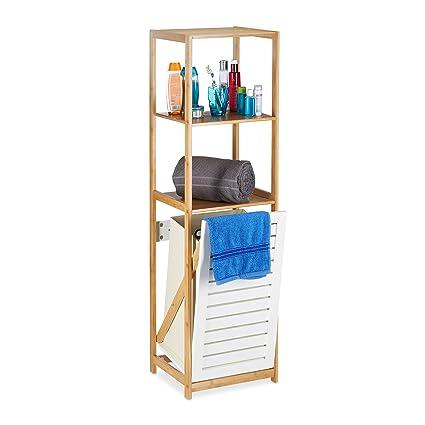 Relaxdays Badregal mit Wäschekorb, Badezimmer Regal Bambus, Standregal  schmal, 3 Fächer, HxBxT: 130 x 37 x 33 cm, Natur