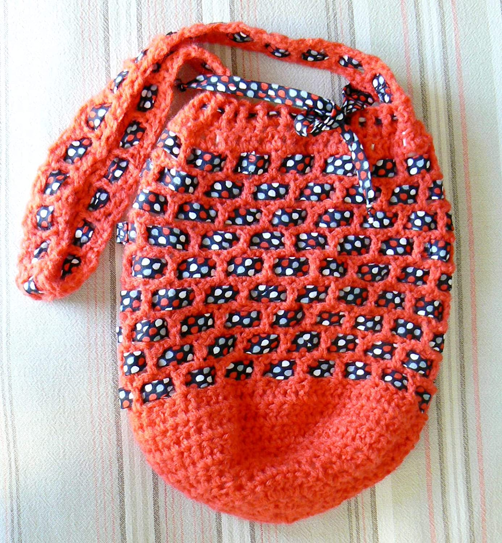 Bolsa Roja Ganchillo Original bolso mensajero Morral tira larga Bandolera tejida: Amazon.es: Handmade