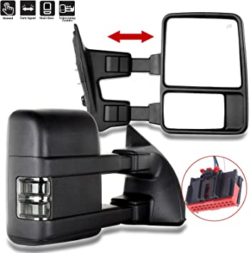 SCITOO Ford Towing Mirror Driver Side Rear View Mirrors for 2003-2007 Ford F-250 F-350 F-450 F-550 Super Duty with Manual Control Manual Telescoping Manual Folding and Turn Signal Light Feature