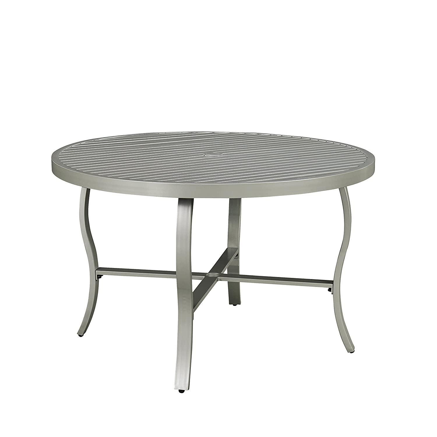 Home Styles 5700-32 South Beach Round Outdoor Patio Dining Table, 48 , Gray