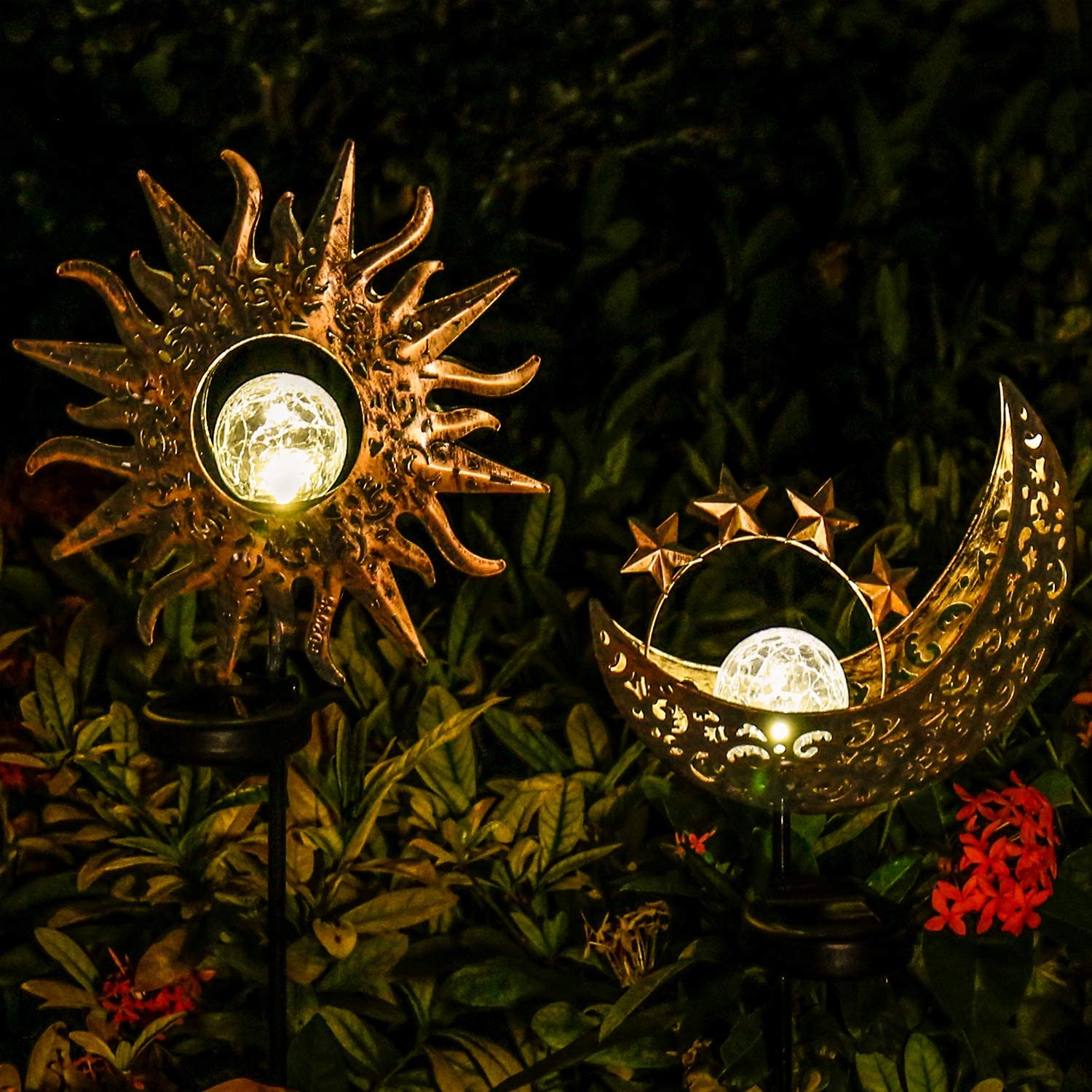 Solar Lights Outdoor Garden Decor,Waterproof Metal Sun Moon Decorative Stakes for Walkway,Yard,Lawn,Patio(2 Pack)