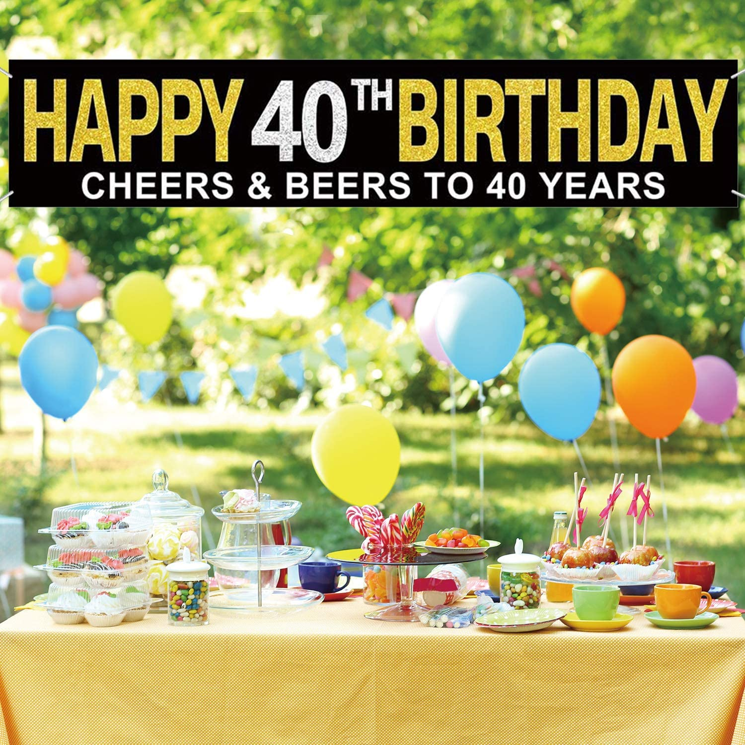 Large Happy 40th Birthday Banner Birthday Hanging Banner Cheers Beers To 40 Years Birthday Party Sign Decorations Home Indoor Outdoor Party Decoration Celebration Flag Birthday Party Supplies Banners Streamers Confetti