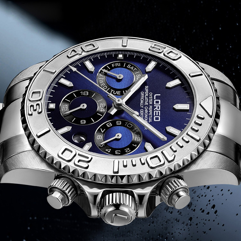 Amazon.com: LOREO Mens Automatic Machine Multifunction Silver Stainless Steel Sapphire Glass Blue Waterproof Watch: Watches