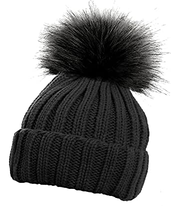 673159eaf La Petite Fille Children's Ribbed Ski Winter Hat with Solid Faux Fur Pom  Pom Warm Bobble Hats