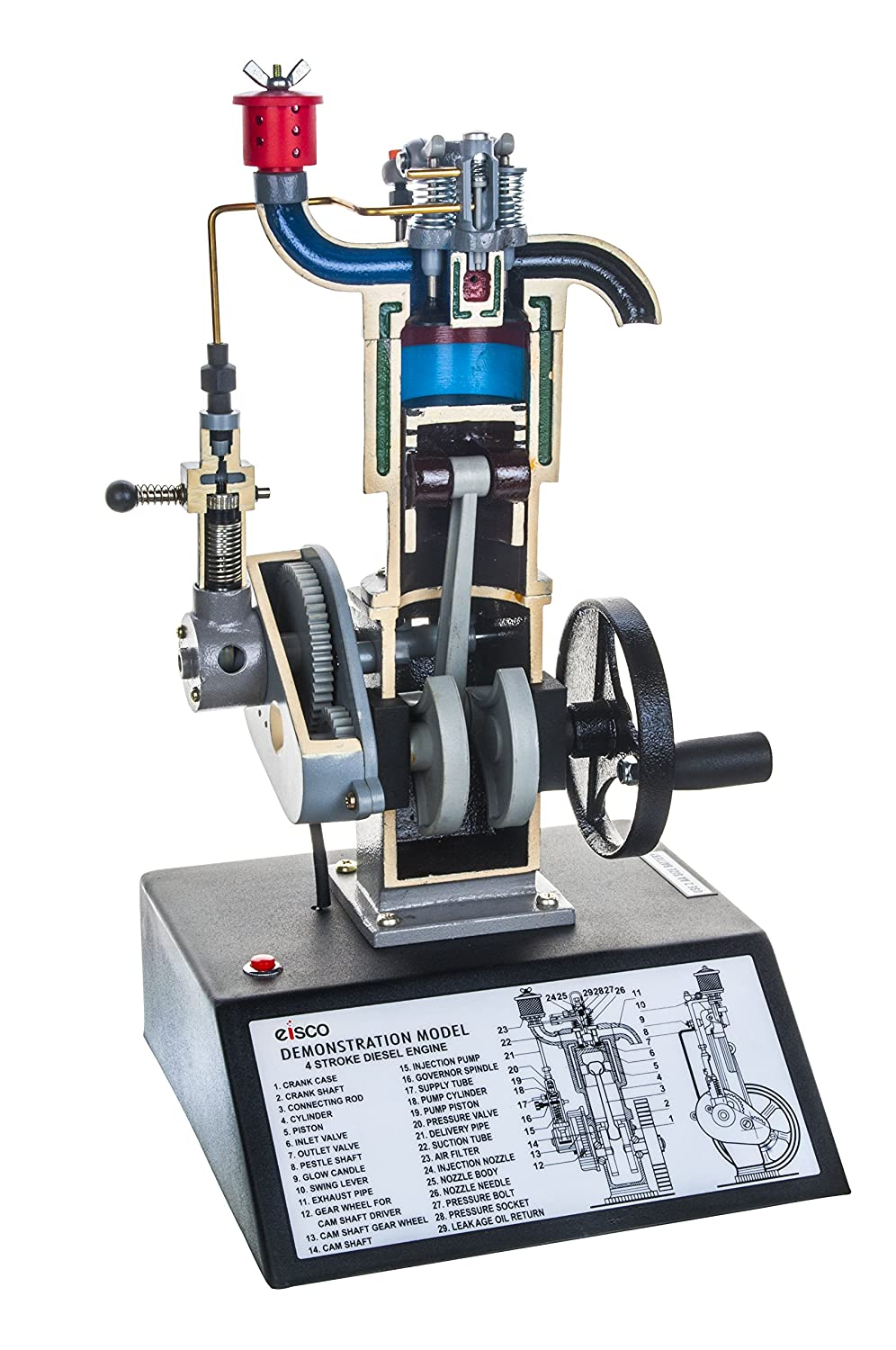 """4 Stroke Diesel Hand Crank Model with Actuating Movable Parts to Demonstrate Engine Basics - 16"""" Tall - Eisco Labs"""
