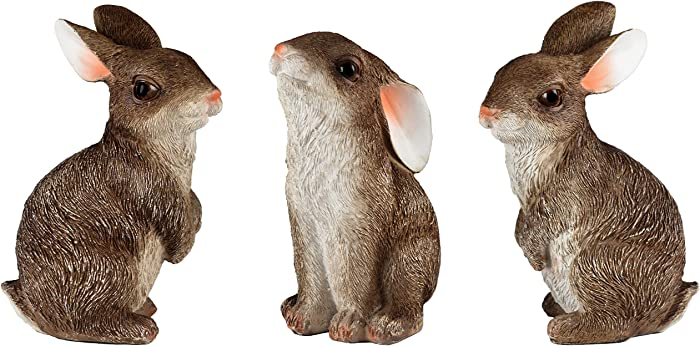 JORAE Bunny Statue Yard Garden Decorations Set of Three, Rabbit Ornament Animal Outdoor Statue, 5 Inch, Polyresin