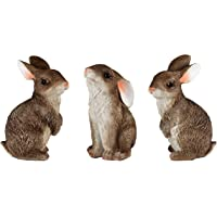 JORAE Bunny Statue Yard Garden Decorations Set of Three, Rabbit Ornament Animal Outdoor Statue Brown, 5 Inch, Polyresin