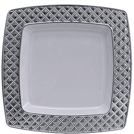 Diamond Collection Elegant China-like Disposable Plates 7.6\u0026quot; White and Silver & Amazon.com: Diamond Collection Elegant China-like Disposable Plates ...