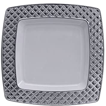 Amazon.com: Diamond Collection Elegant China-like Disposable Plates ...
