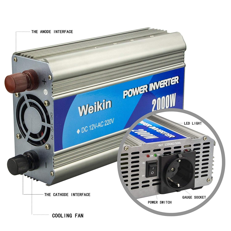 weikin Convertitore di Tensione 1000w Power Inverter DC 12v a AC 220V 230V 240V Onda sinusoidale analogica convertitore di Auto Inverter