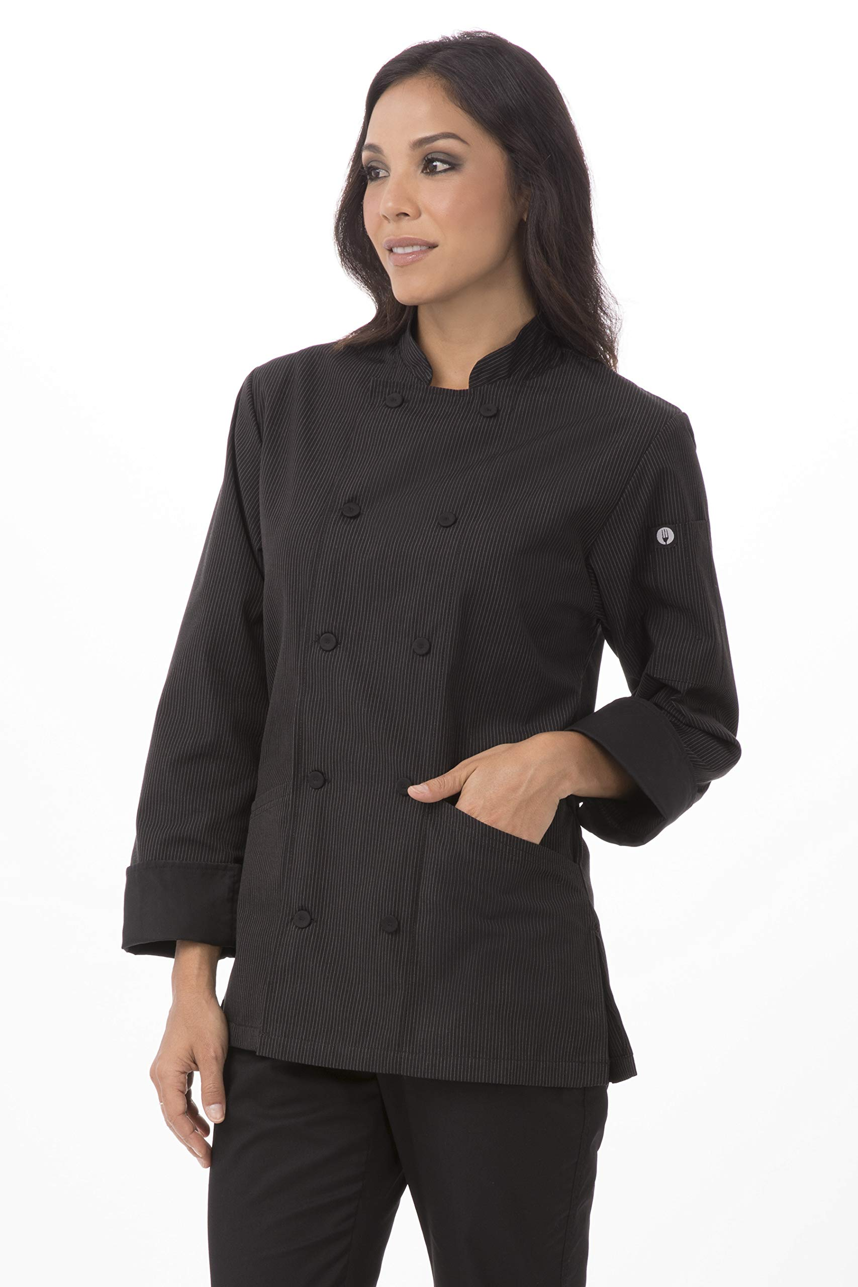 Chef Works Women's Carlisle Executive Chef Coat, Pinstripe, Medium by Chef Works