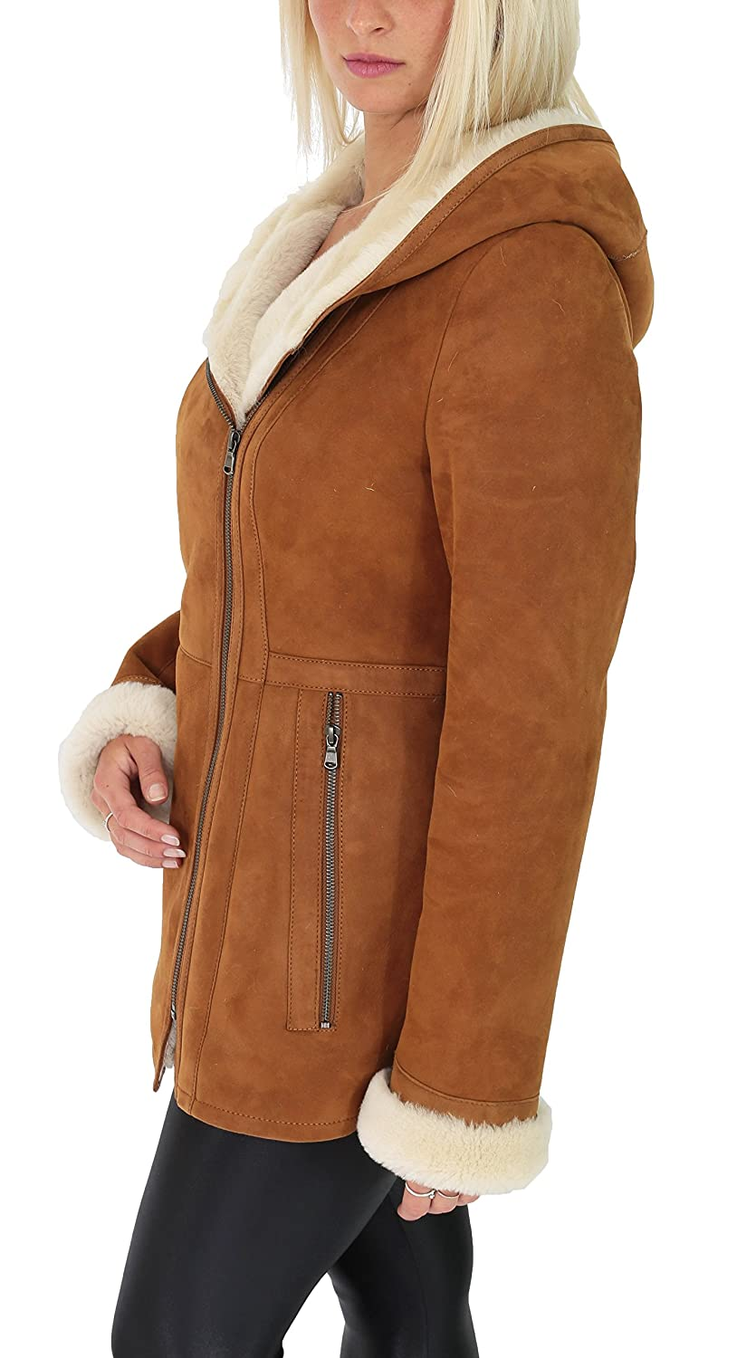Ladies Sheepskin Coat Hooded Hip Length Shearling Zip Jacket Ellen Tan at Amazon Womens Coats Shop