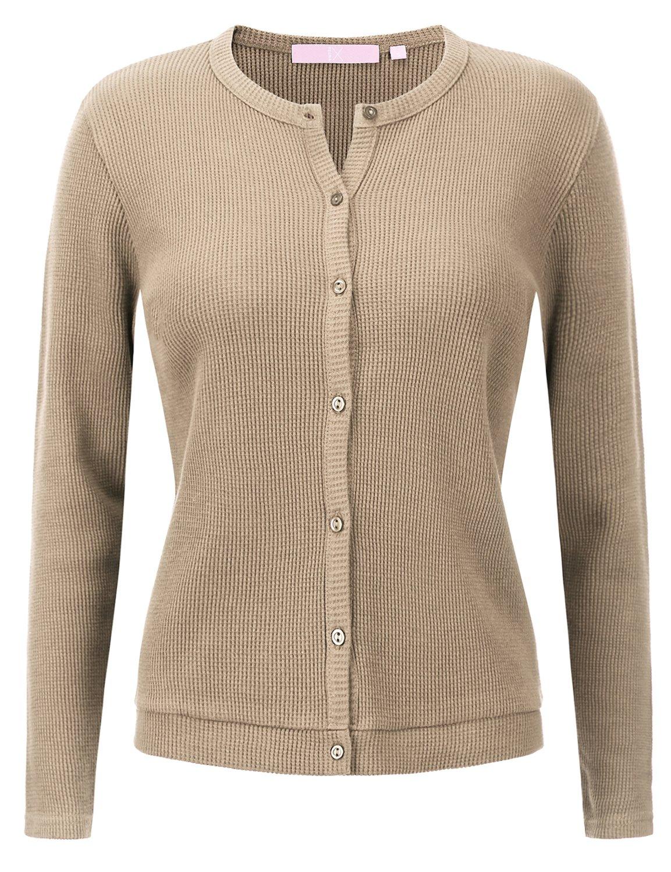 Regna X Love Coated Women's Long Sleeve Waffle Knit Cardigan
