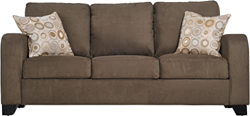 Handy Living Torino Curved Arm Microfiber Sofa, Dark Moss With 2 Decorative Commotion Throw Pillows